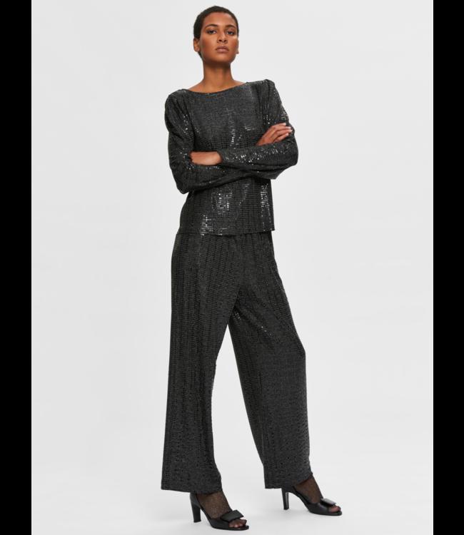 Selected Femme SLFSANDRA Wide Pant - Black AOP Silver