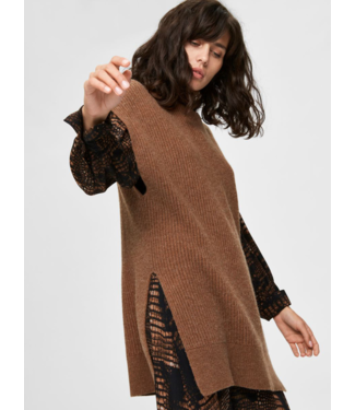 Selected Femme SLFSANNA Tunic Knit Rollneck - Toffee