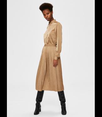 Selected Femme SLFMONI Midi AOP Pleated Skirt - Tigers Eye AOP