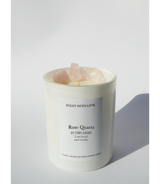 Scent With Love Witte Kaars 300gr - Rose Quartz - Romantic Rose