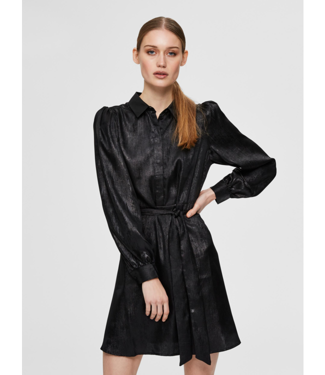 Selected Femme SLFAURELIA Short Shirt Dress  - Black Foil