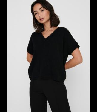 JACQUELINE de YONG JDYRUBI V-Neck Knit Vest - Black