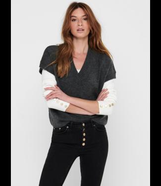 JACQUELINE de YONG JDYRUBI V-Neck Knit Vest - Dark Grey Melange