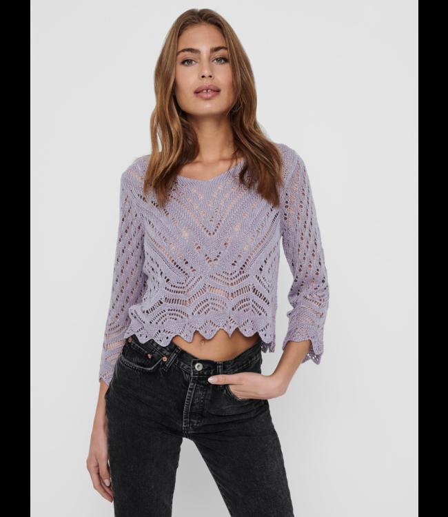 JDYNEW Sun 3/4 Cropped Pullover - Lavender Gray