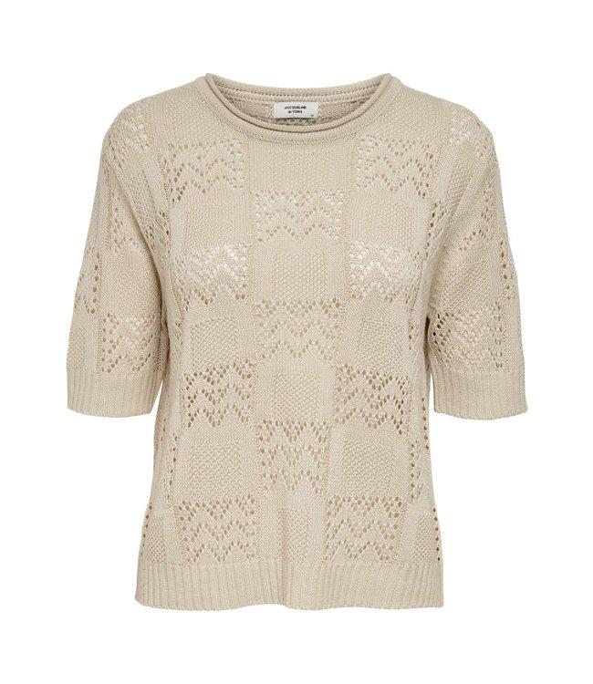 JDYSOFIA knit t-shirt - Oatmeal