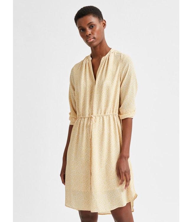 SLFDAMINA 7/8 AOP Dress - Sandshell with Citrus AOP