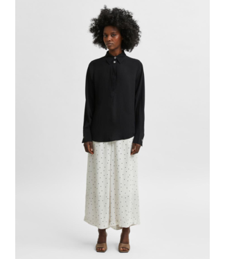 Selected Femme SLFZELDA Wide Cropped Pant - Birch AOP