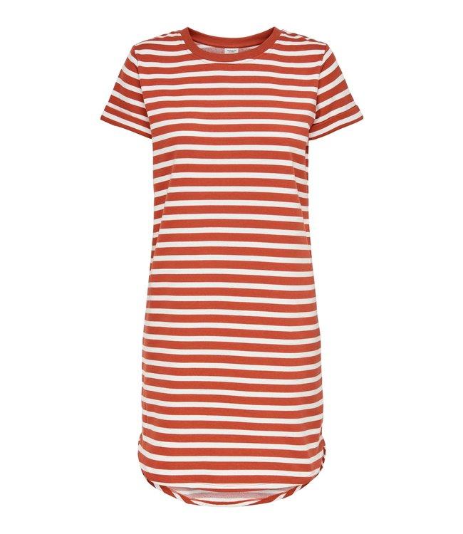 JDYIVY Life Stripe Dress - Hot Sauce Cloud Dancer Stripe
