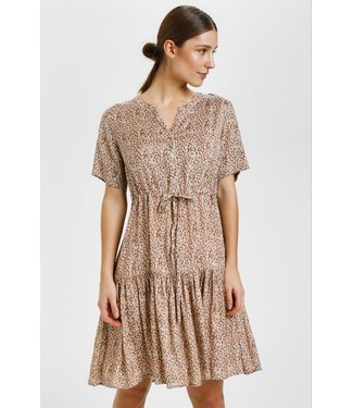 Cream CRJULIA Dress - Small Brown flower AOP