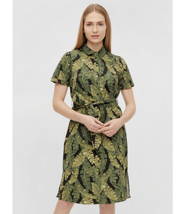 OBJFANA Shirt Dress - Black AOP Leaves