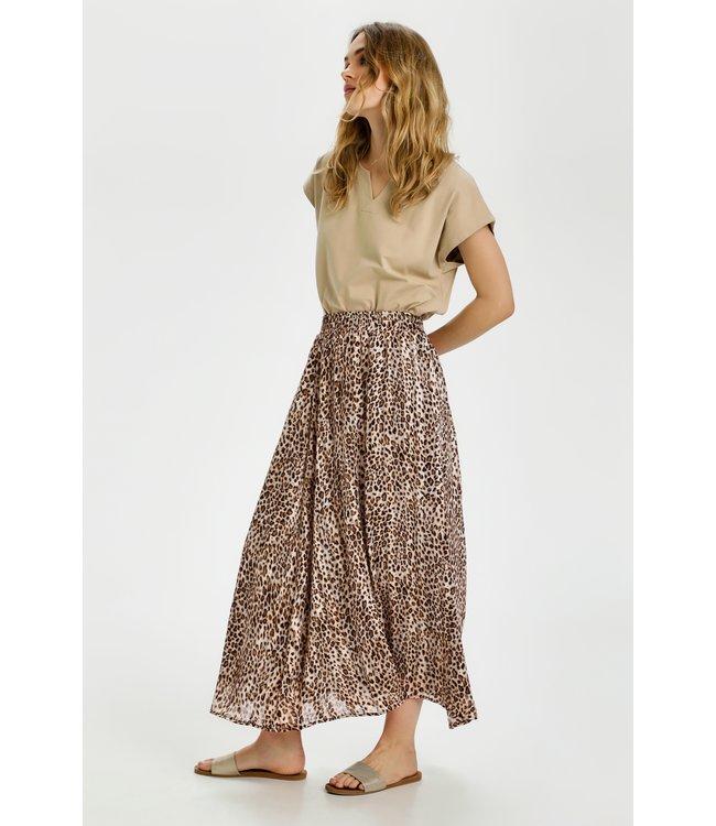 KAlaranya Skirt - Brown Leo Print/Gold Lurex