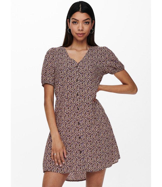 JDYSTAAR Life S/S Shirt Dress WVN - Black DAISY & ROSE FLOWERS