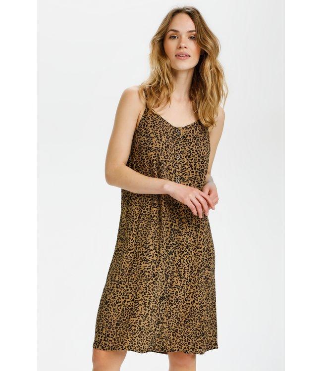 KAIera Amber Dress - Brown / Black Leo Print