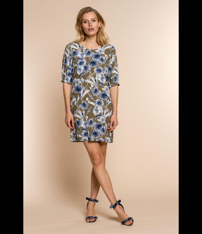 Dress 17115 - khaki/blue combi