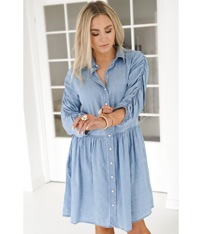 FQDOBBY Dress - Light Blue Denim