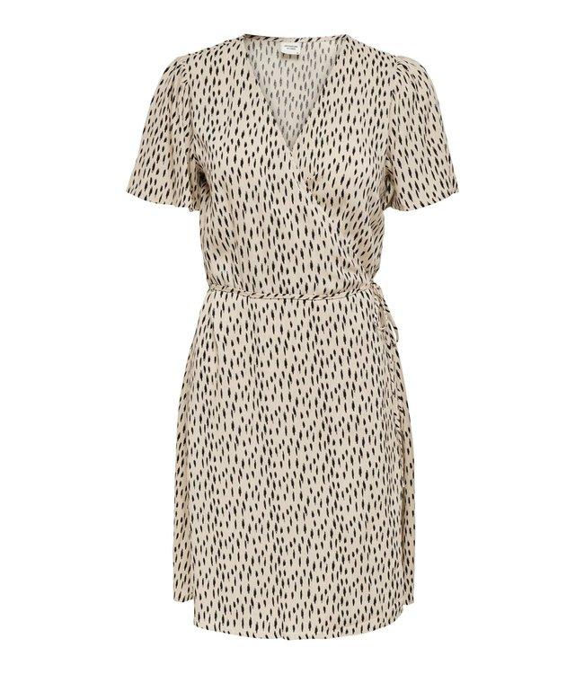 JDYSTAAR Life S/S Wrap Dress - Cement AOP Black Dots