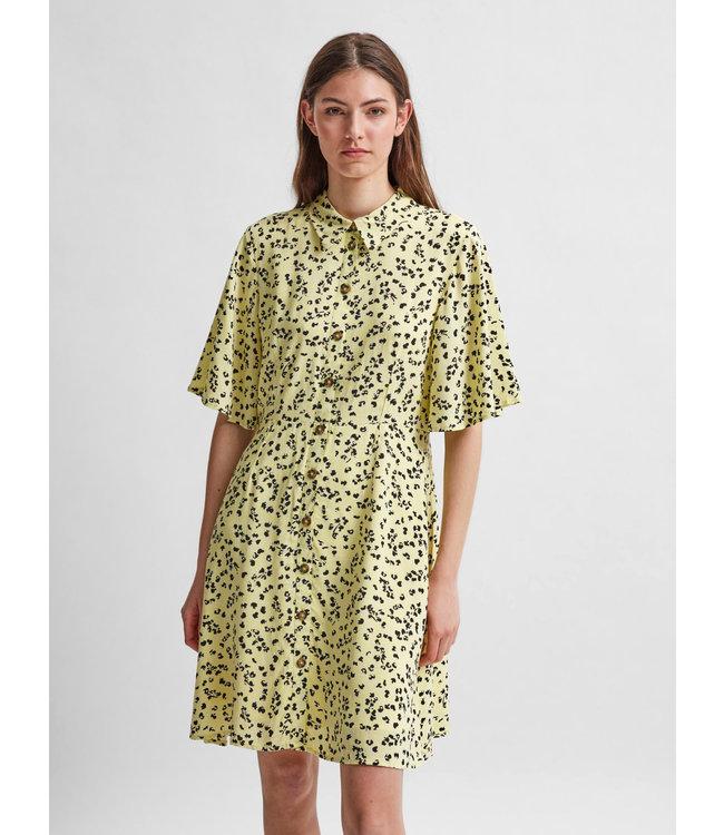 SLFUMA 2/4 Short AOP Shirt Dress - Yuong Wheat AOP