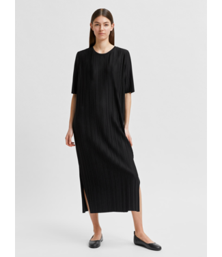 Selected Femme SLFTERLE 2/4 Midi Plisse Dress - Black