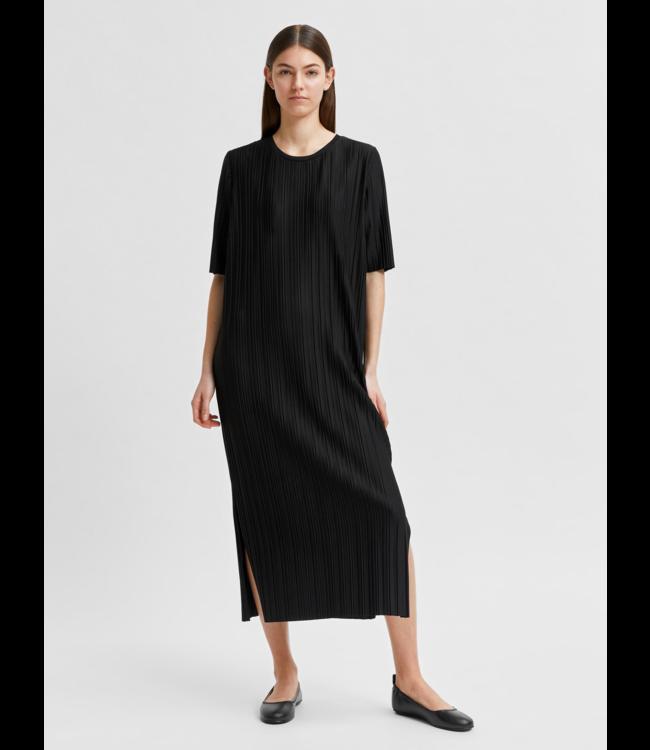 SLFTERLE 2/4 Midi Plisse Dress - Black