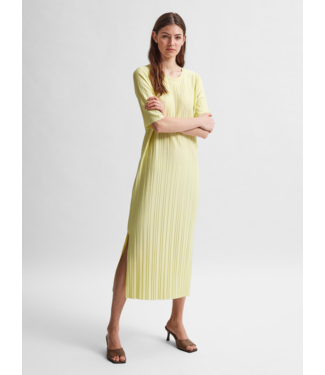 Selected Femme SLFTERLE 2/4 Midi Plisse Dress - Young Wheat