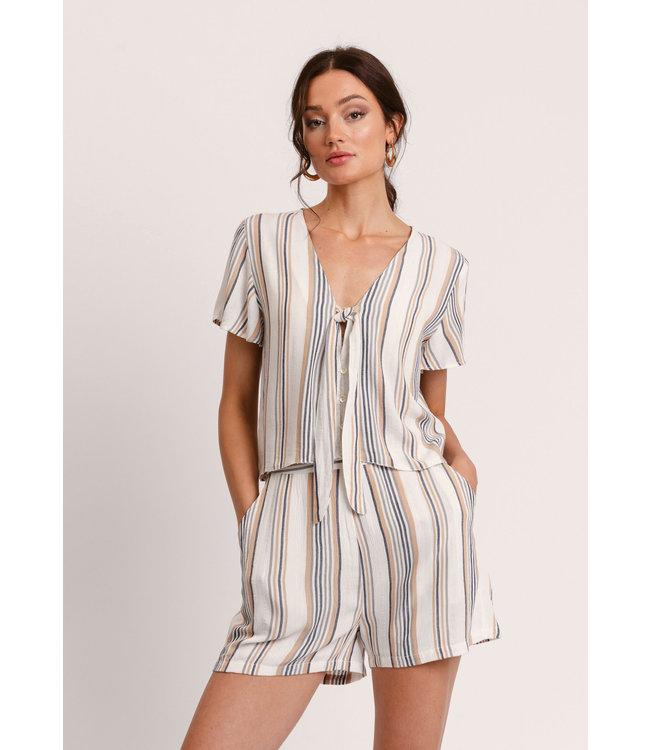 Vendela Knot Blouse - Multi Color Stripe