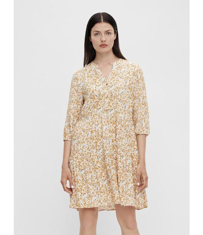 OBJMARIE Alba 3/4 Dress P - Honey Mustard AOP