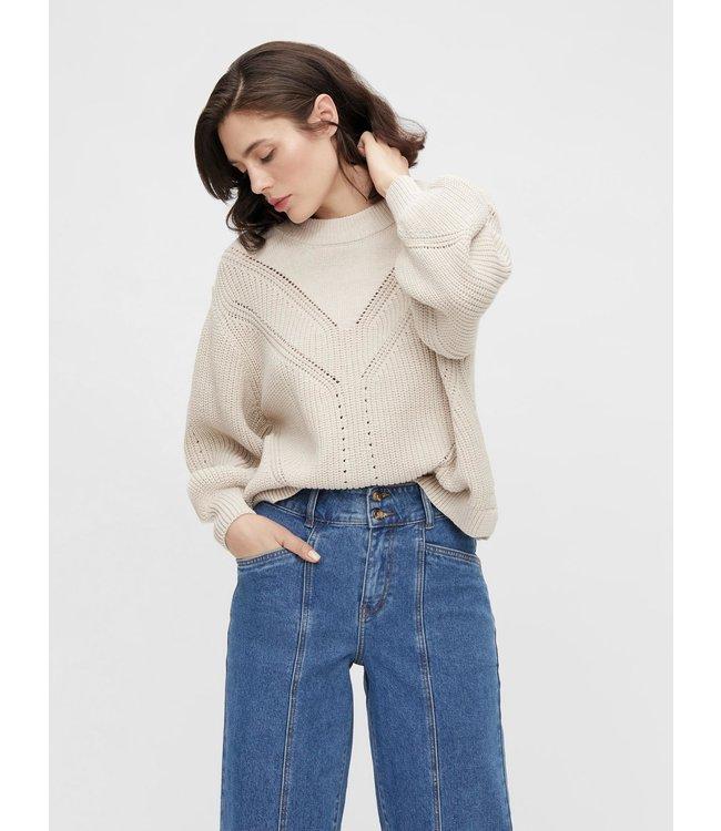 OBJHALSEY Knit Pullover - Silver Gray