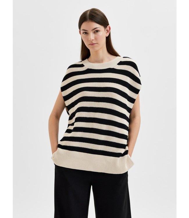 SLFPALMA Knit Vest O-Neck Stripe - Black Stripes Birch