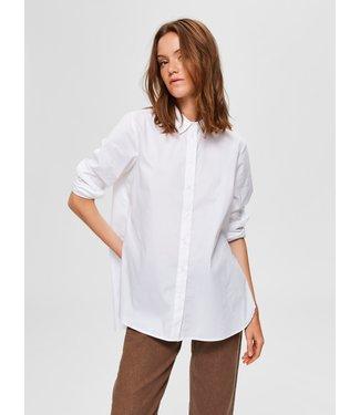 Selected Femme SLFORI LS Side ZIP Shirt B - Bright White