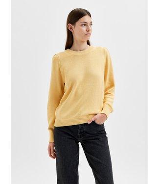 Selected Femme SLFAVA LS Knit O-Neck - Sahara Sun