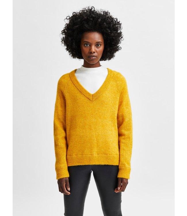SLFLULU LS Knit V-Neck - Arrowwood Melange