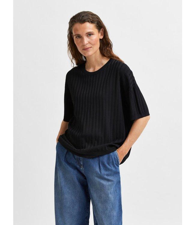 SLFNANCY SS Knit Top W - Black