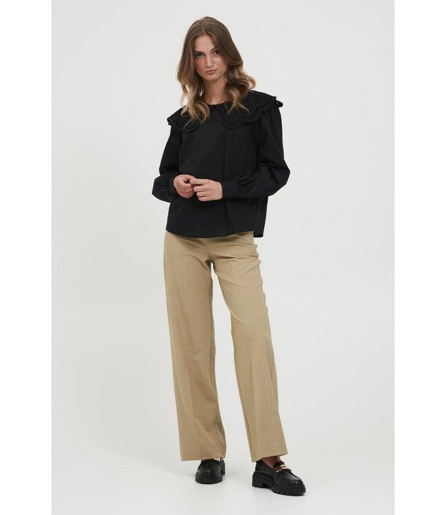 BYDANTA Wide Leg Pants - Tannin Melange