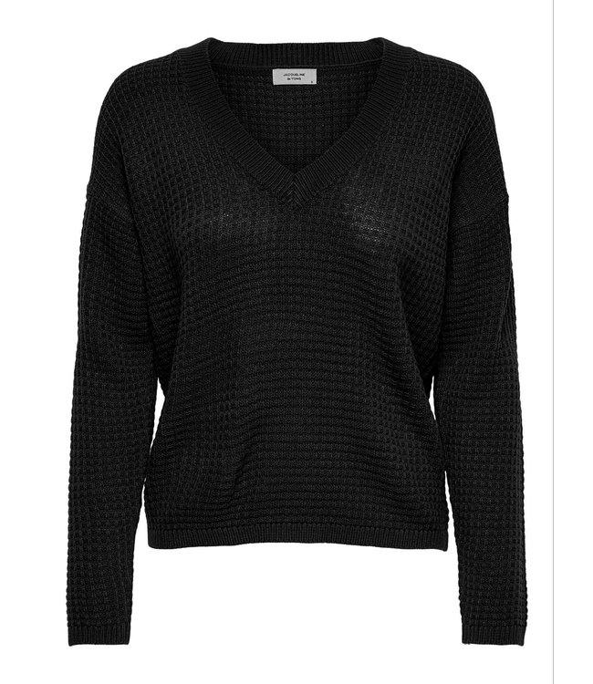JDYALICE L/S V-Neck Pullover - Black