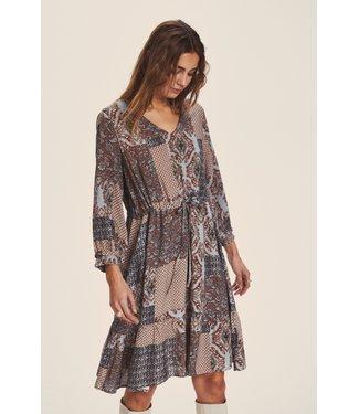Cream CRSani Dress EV - Russet patchwork
