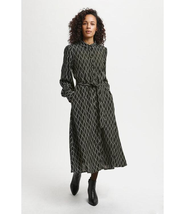 KAolan Shirt Dress - Black / Sand Chain Print