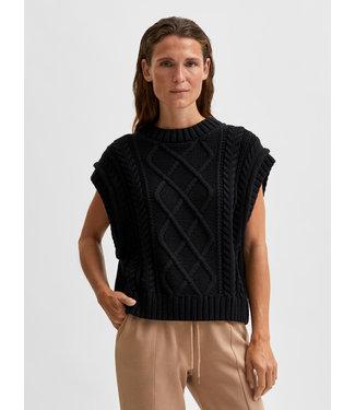 Selected Femme SLFPIPER Knit Vest - Black