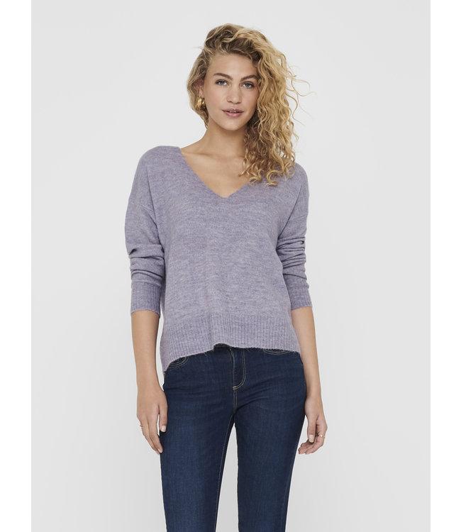 JDYELANORA V-Neck Pullover - Lavender Gray Melange