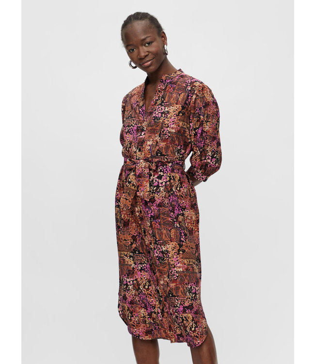OBJROXANNA 3/4 Shirt Dress - Grape Shake