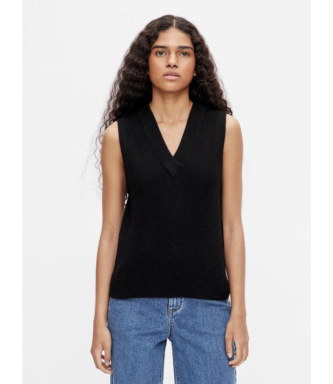 OBJMALENA Knit Waistcoat - Black