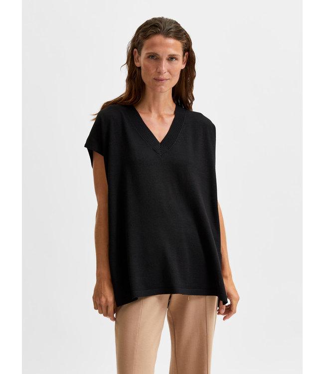 SLFSANDRA Wool Kint Vest V-neck - Black