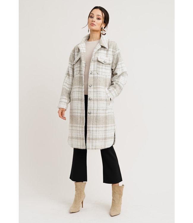 Becky Check Coat - Light Beige/White Check
