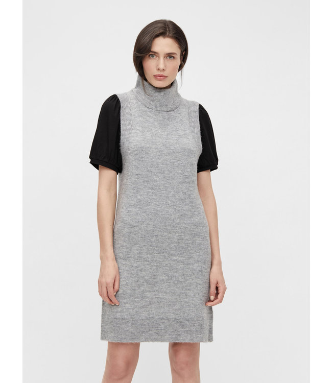 OBJLAUREN Knit Waistcoat Dress - Light Grey