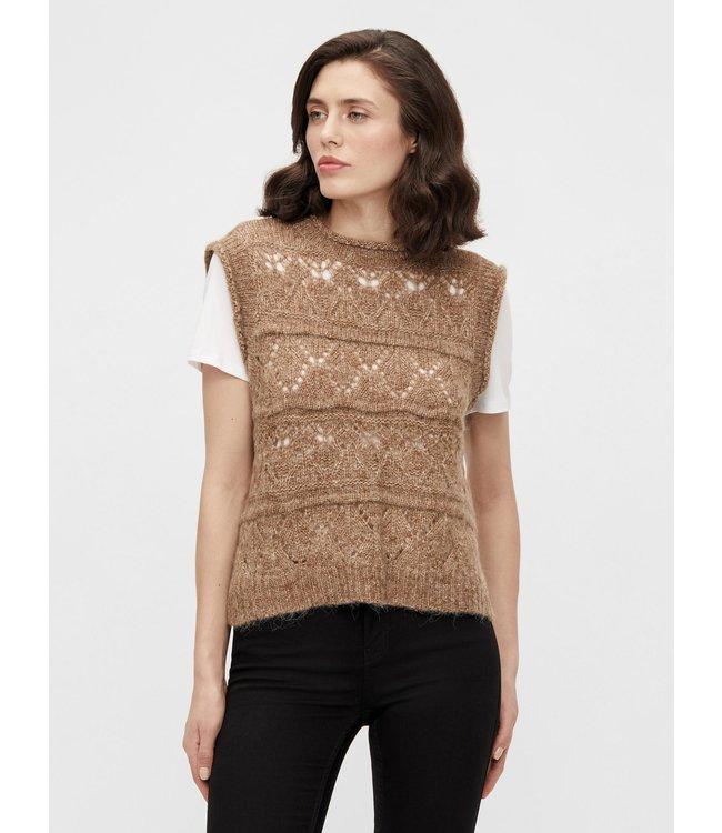 OBJPALEMO Knit Waistcoat - Sepia
