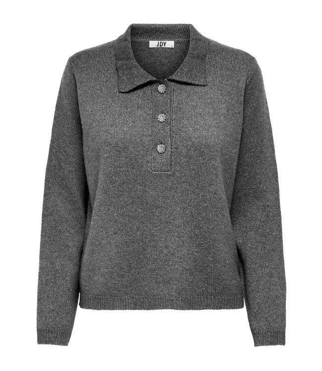 JDYRUE Raya Polo Pullover - Dark Grey Melange