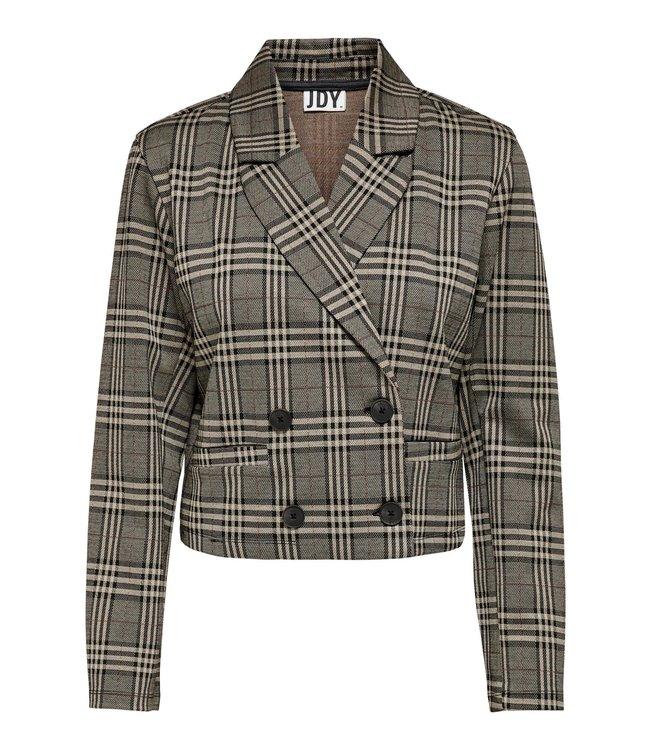 JDYMIA Short Check Blazer - Cobblestone Big Checks