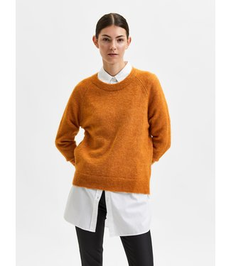 Selected Femme SLFLULU LS Knit O-Neck - Pumpkin Spice Melange