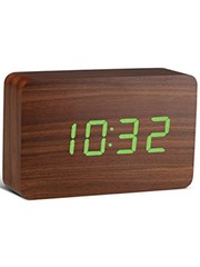 Gingko Gingko Brick Clock Walnoot Groen LED