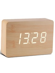 Gingko Gingko Brick Clock Beech Wit LED