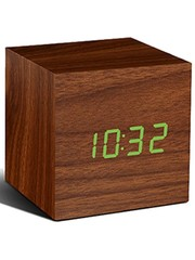 Gingko Gingko Cube Clock Walnut Green LED